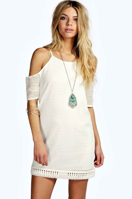 Riza Cold Shoulder Fringe Shift Dress