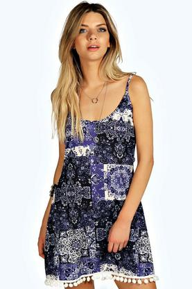 Paula Patch Work Paisley Slip Dress