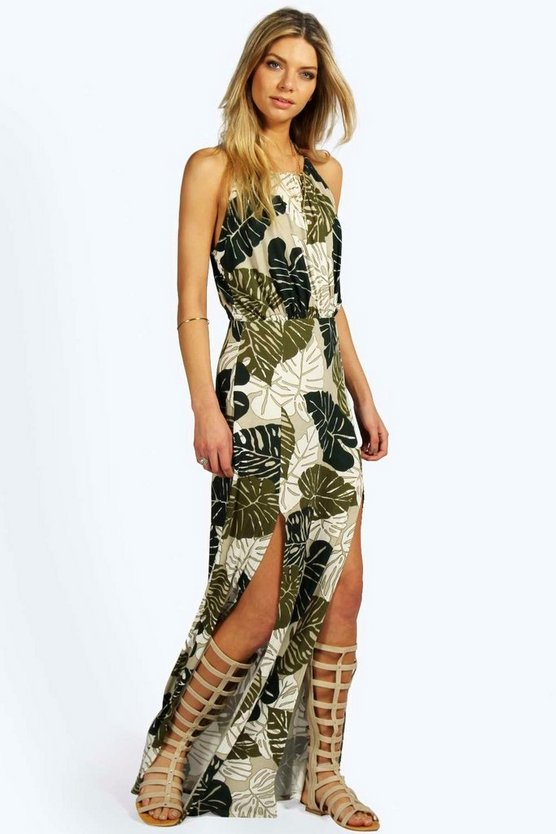 Tropical Split Front Maxi Dress