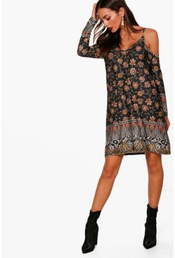Libby Paisley Cold Shoulder Dress