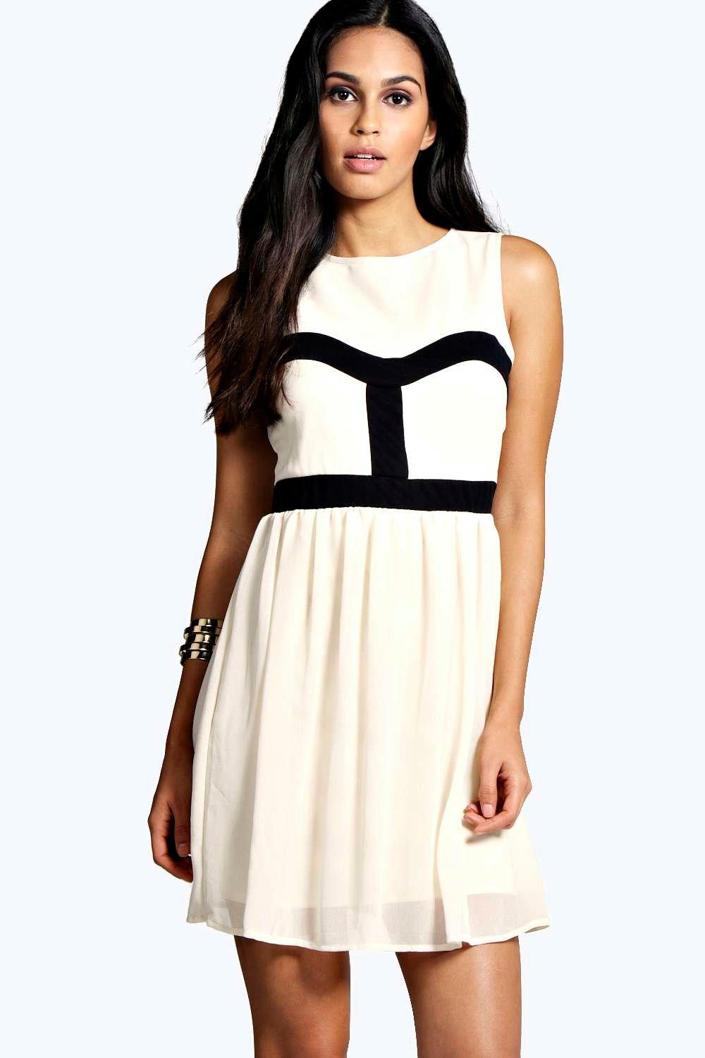 Cecily Monochrome Contrast Colour Skater Dress