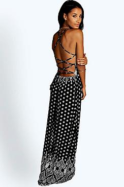 Poppi Border Print Strappy Maxi Dress
