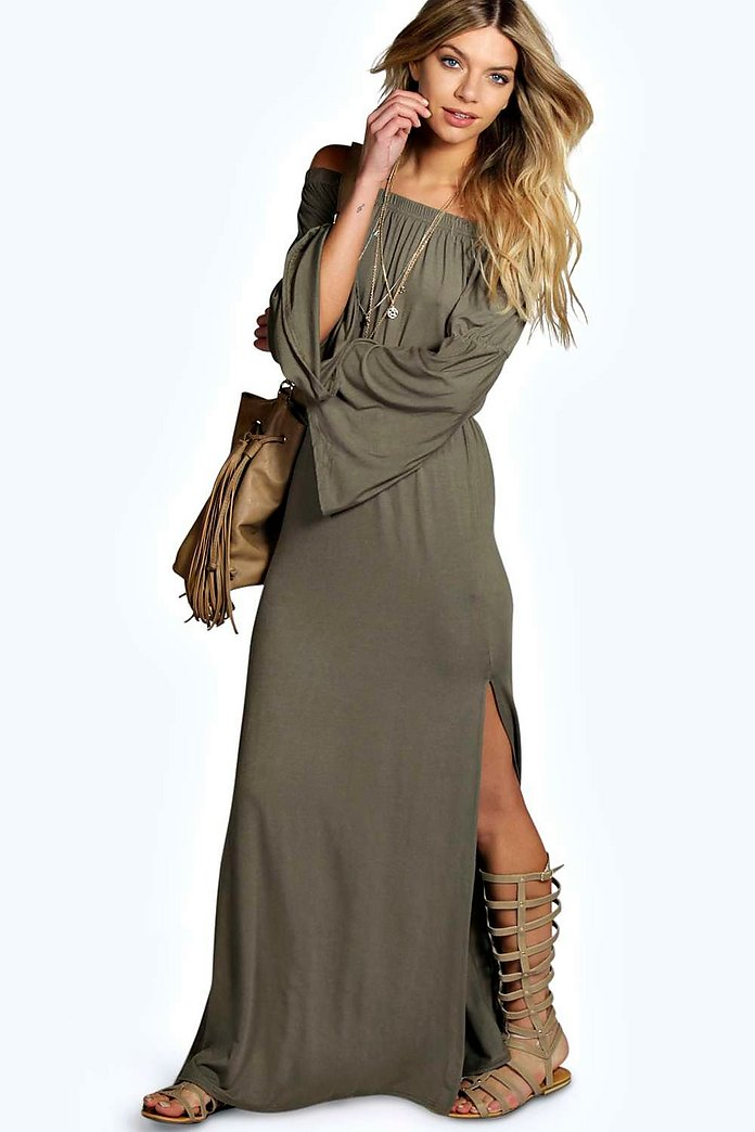 Candy Wide Sleeve Off Shoulder Maxi Dress