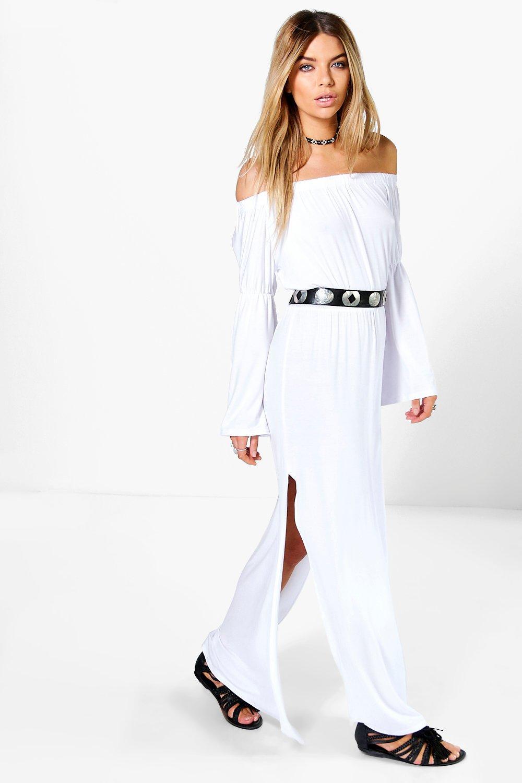 Wide Sleeve Off Shoulder Maxi Dress - white