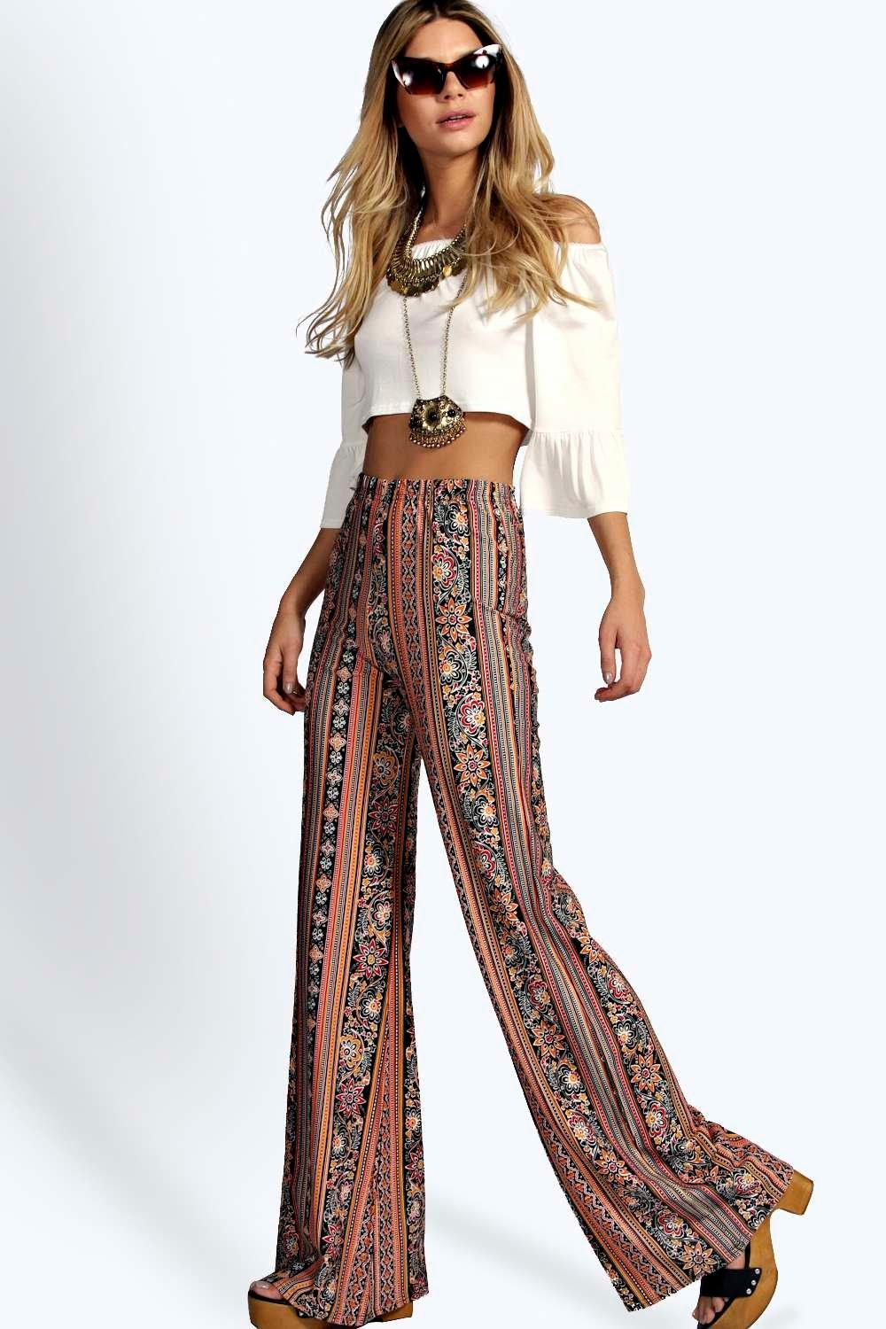 Super High Waist Paisley Flares multi