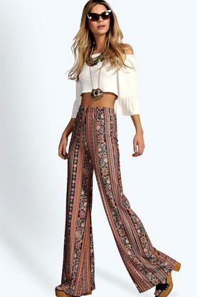 Stacy Bohemian Paisley Print Flares