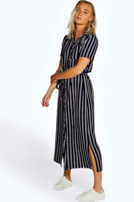 Vivian Stripe Woven Wrap Midi Dress