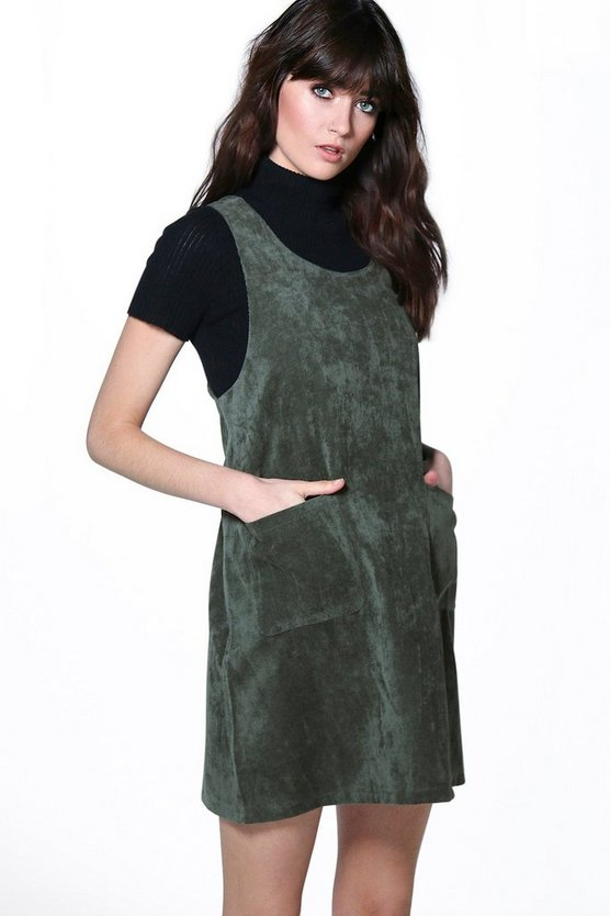 Eliana Cord Pinafore Dress