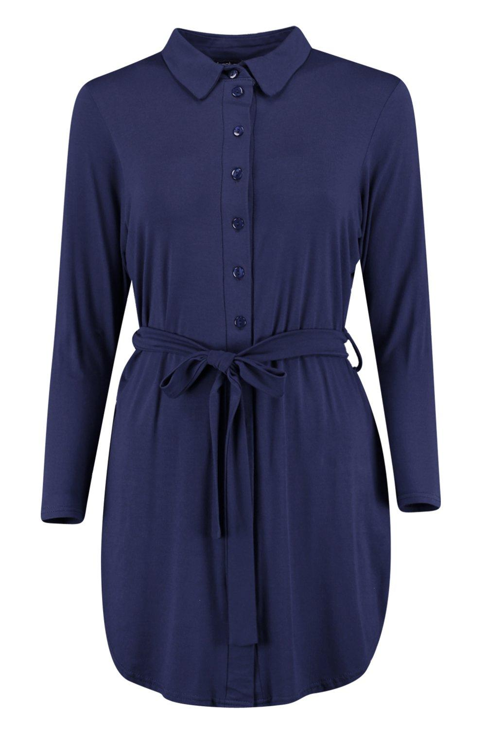 Boohoo Womens Catalina Button Through Collar Shirt Dress