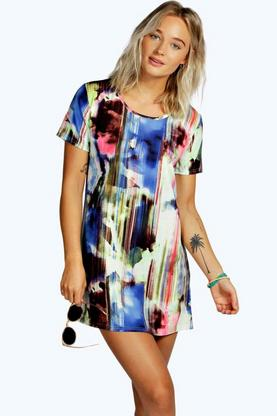Callie Smudge Print Shift Dress