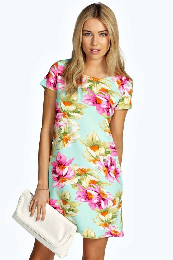 Jessie Floral Cap Sleeve Shift Dress