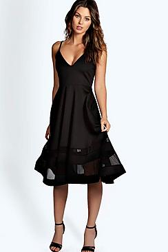 Celina Strappy Double Mesh Midi Skater Dress
