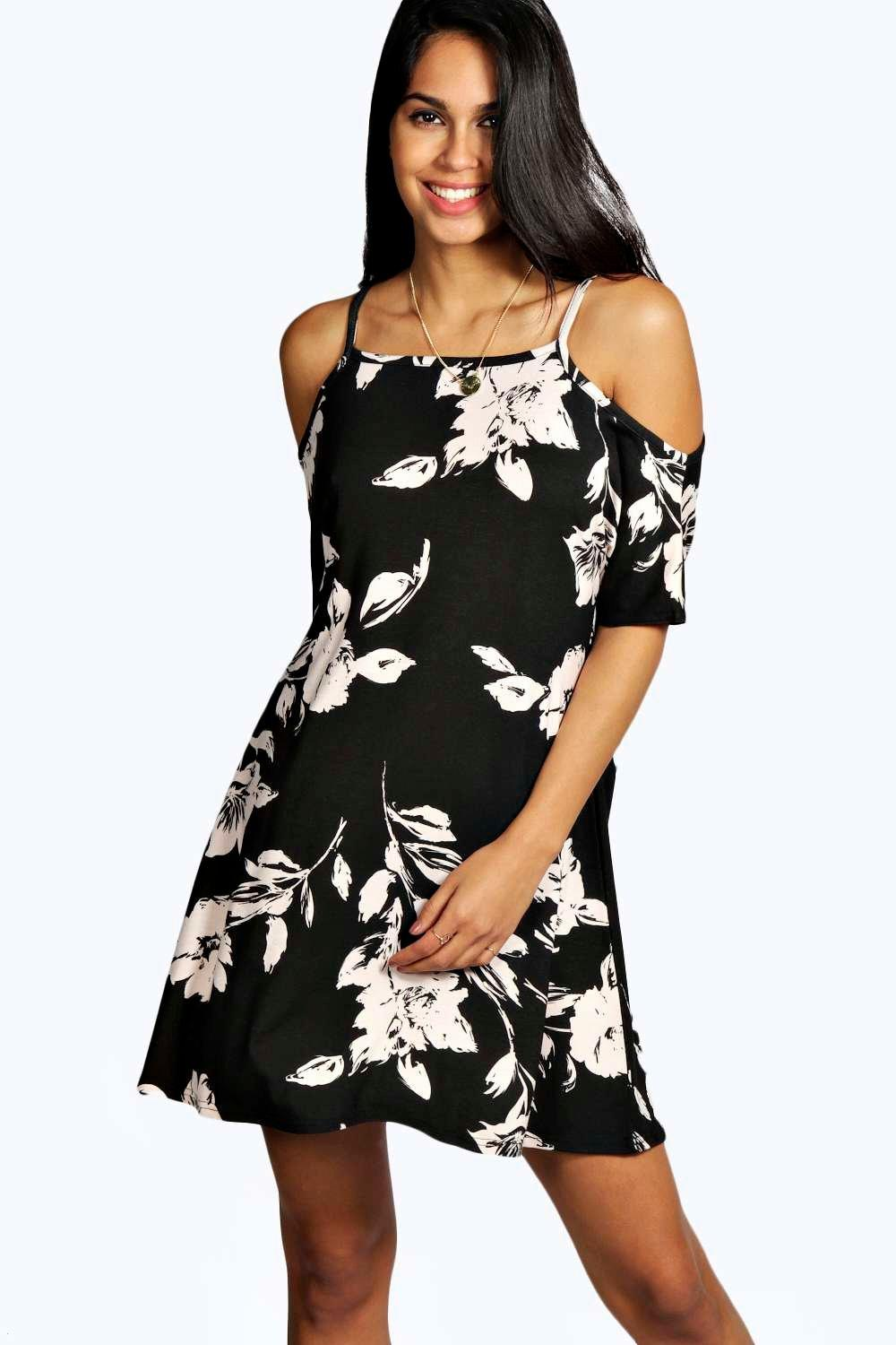 Pam Floral Cold Shoulder Swing Dress