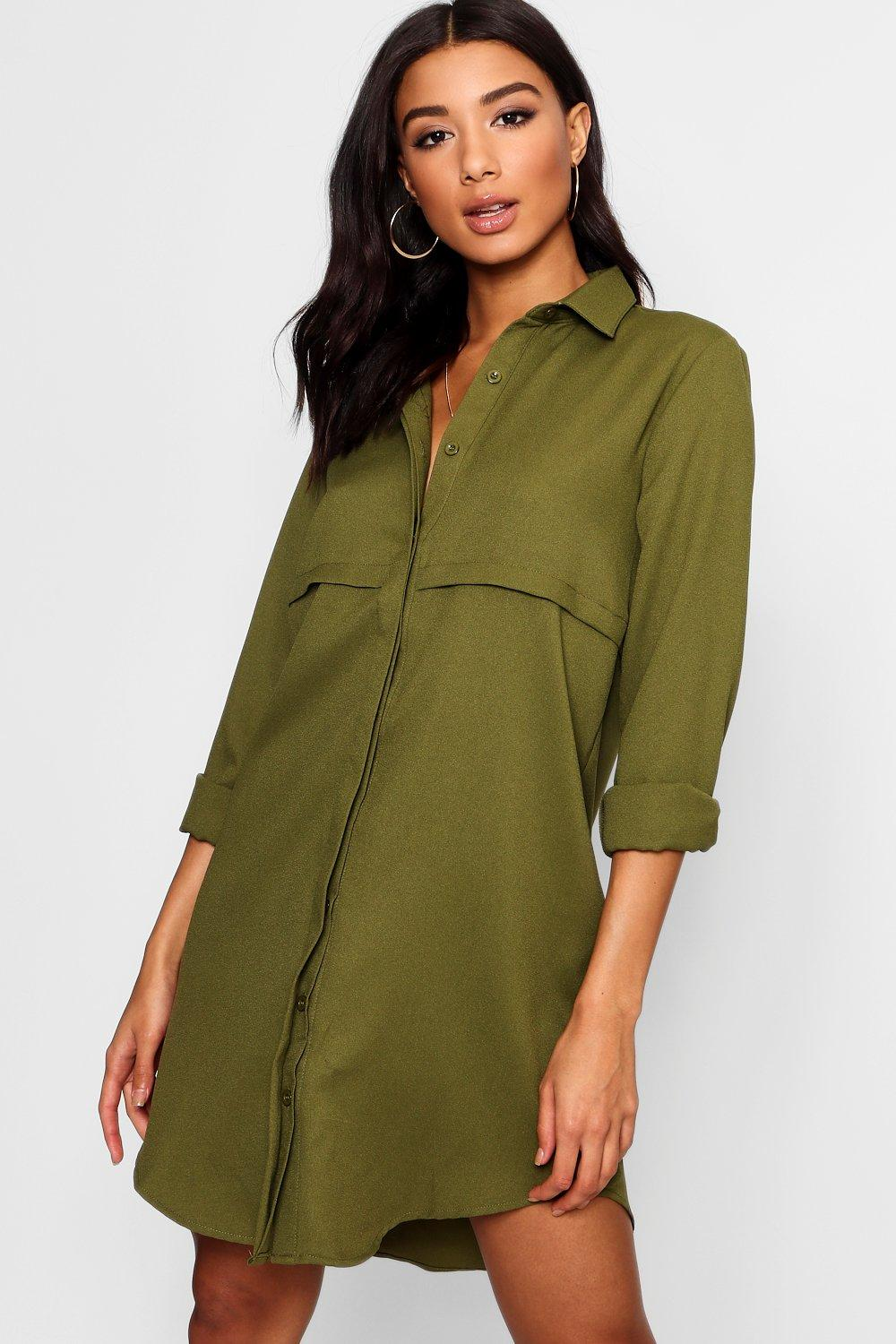 Double Placket Woven Shirt Dress  khaki