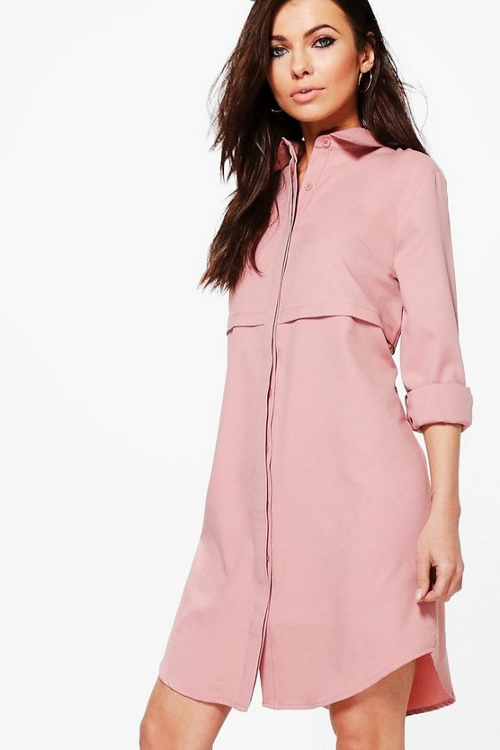 Samia Double Placket Woven Shirt Dress