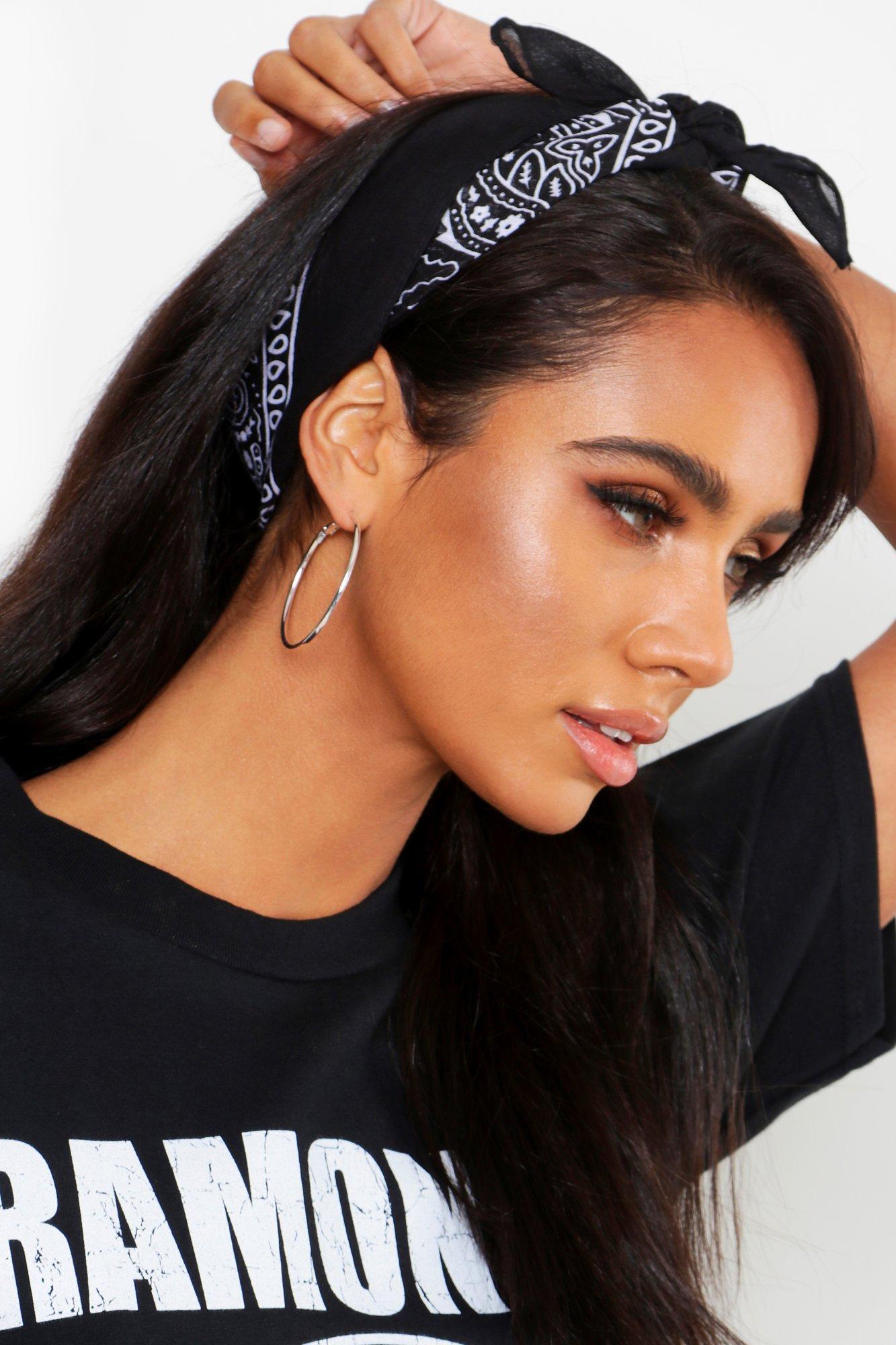 boohoo Womens Bandana Print Headscarf Neckerchief - Black - One Size, Black