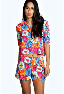 Mina Floral Tailored Short Co Ord Set