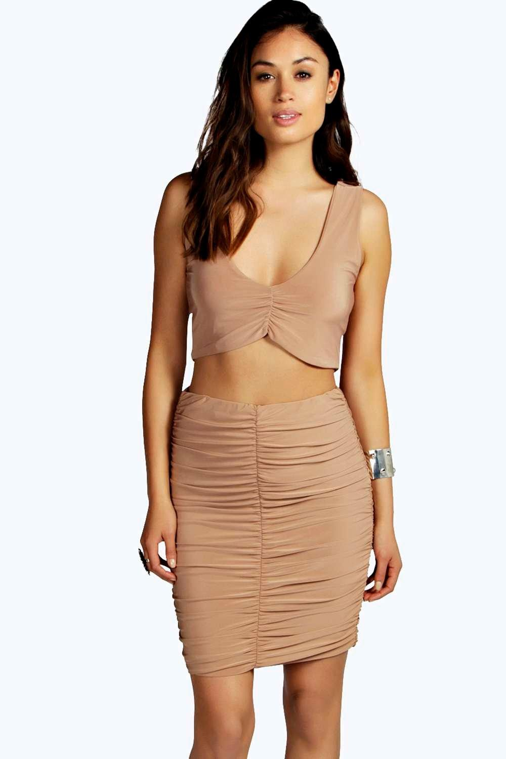 Abrielle Plunge Crop Midi Skirt Co Ord