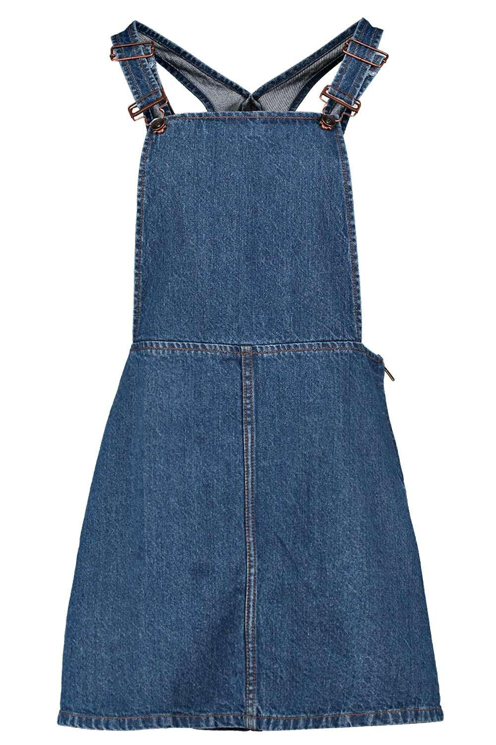 Wonderful Garage Denim Pinafore Style Dress These Are Cute With A Short Or Long Sleeve Tee Underneath Domes At The Top And Each Side Of The Skirt Theres Also A Large Pocket On The Chest 86cm Long Top Of Strap To Hem New Orig $35 Im Doing