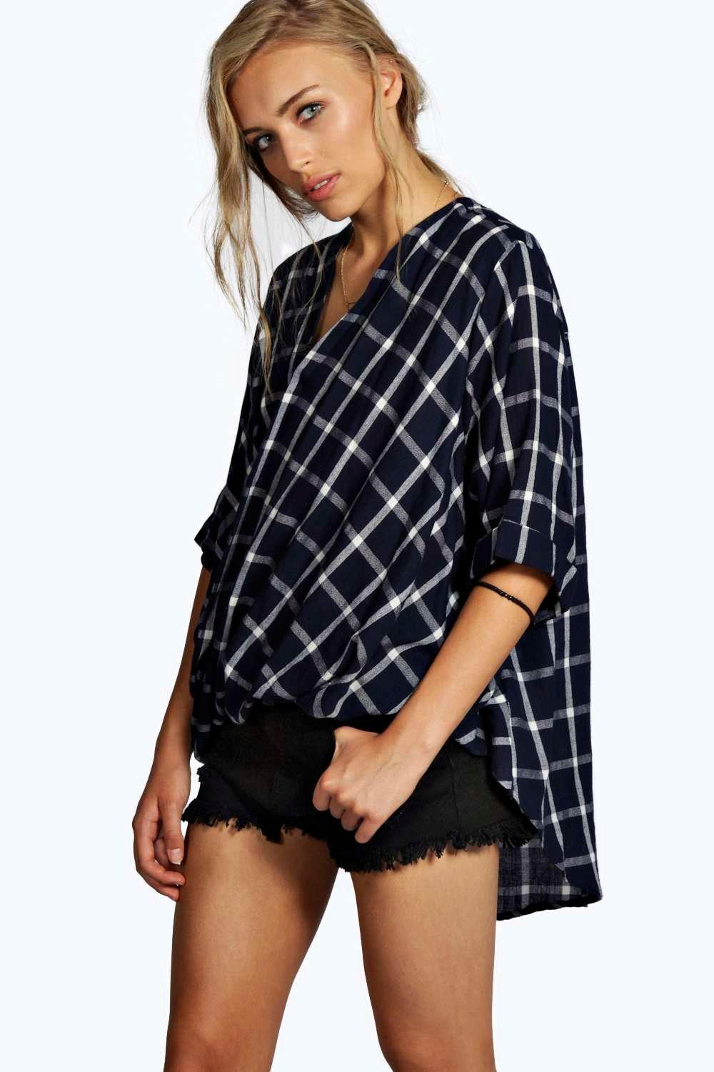 Darcy Grid Check Wrap Front 3/4 Sleeve Blouse