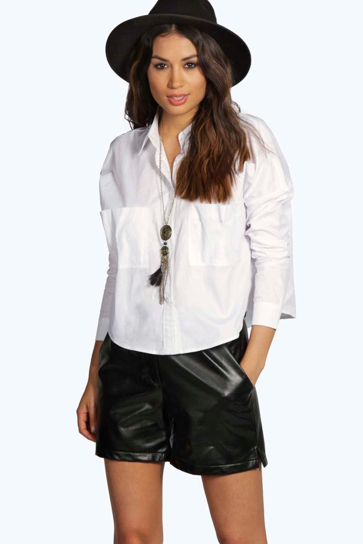 Boxy Pocket Detail Shirt white