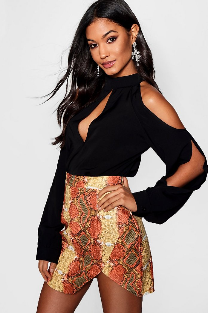 Molly Split Sleeve Cold Shoulder Blouse