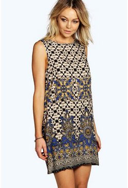 Diane Border Print Sleeveless Shift Dress