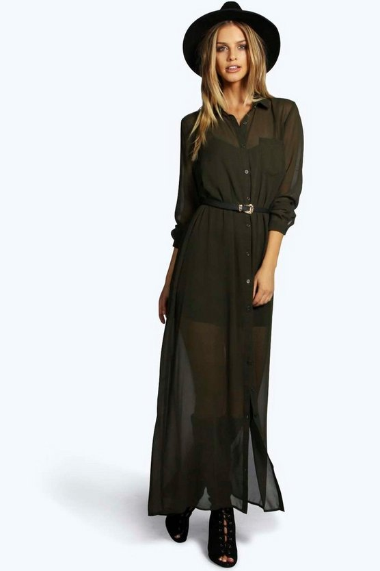 Edith Georgette Maxi Shift Dress