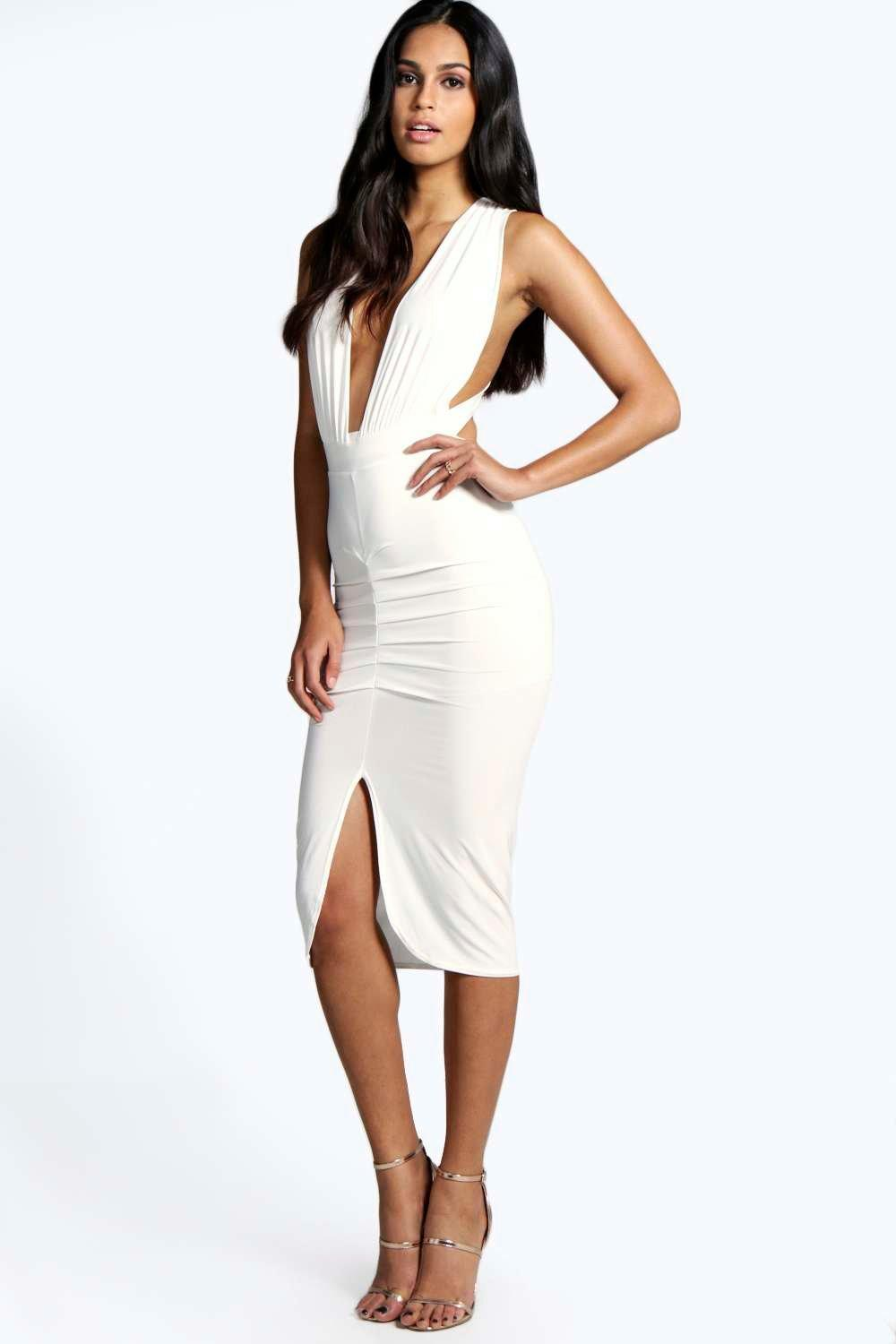 Aby Slinky Plunge Neck Midi Bodycon Dress