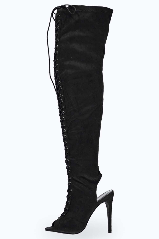 boohoo damen leah hohe high heels zum schn ren mit peeptoe. Black Bedroom Furniture Sets. Home Design Ideas