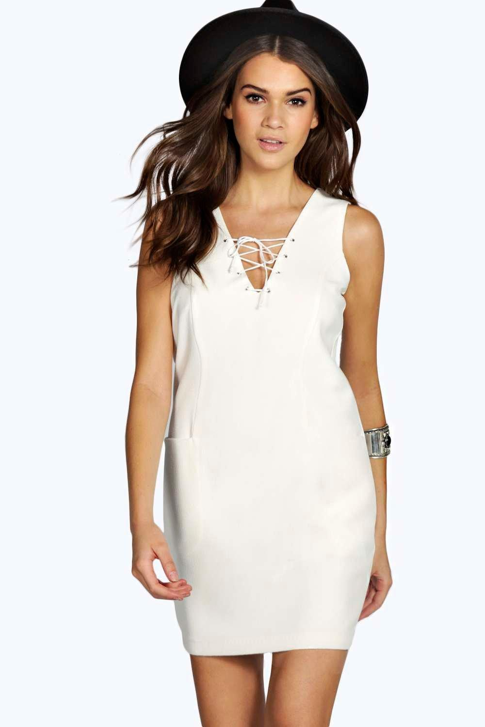 Natasha Lace Up Sleeveless Woven Shift Dress
