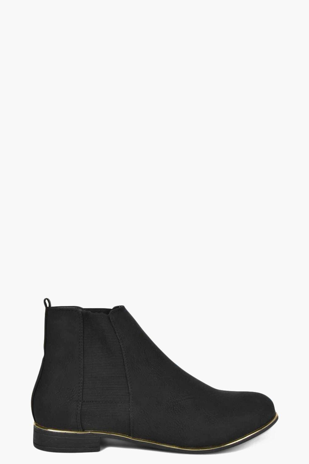 Eva Gold Trim Suedette Chelsea Boot
