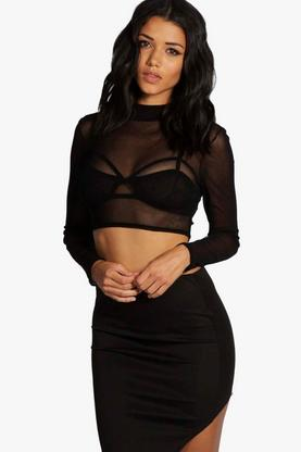 Philippa Turtle Neck All Over Mesh Crop