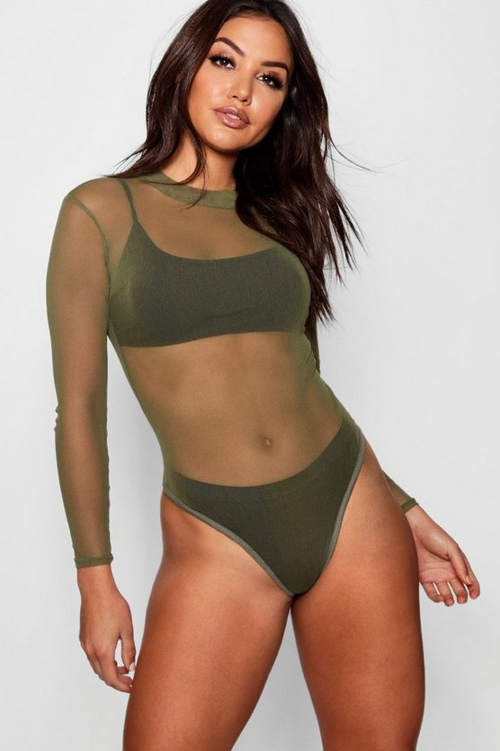 Rose Turtle Neck All Over Mesh Bodysuit