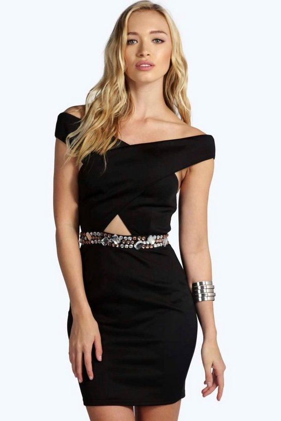 Alyssa Boutique Embellished Bodycon Dress