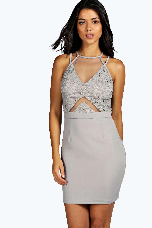 boohoo womens kayla crochet lace and mesh bodycon dress ebay