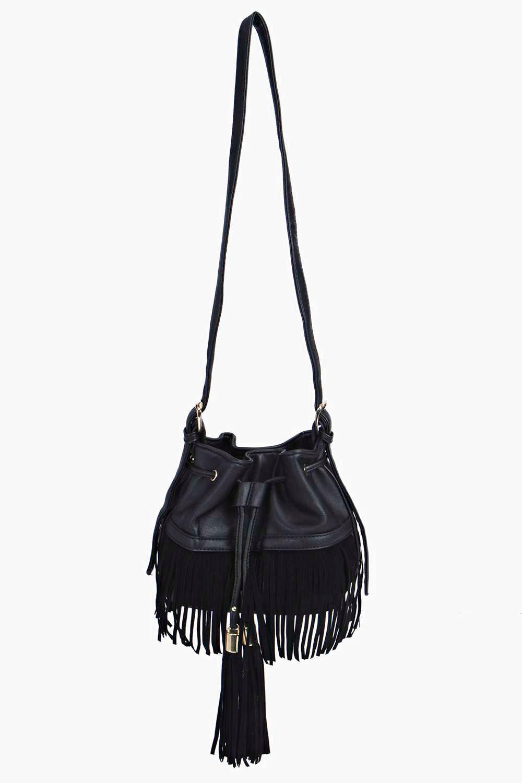 Fringed Tassel Duffle Bag - black - A bag will mak