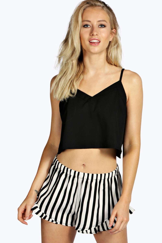 Black Cami & Stripe Ruffle Shorts Set black
