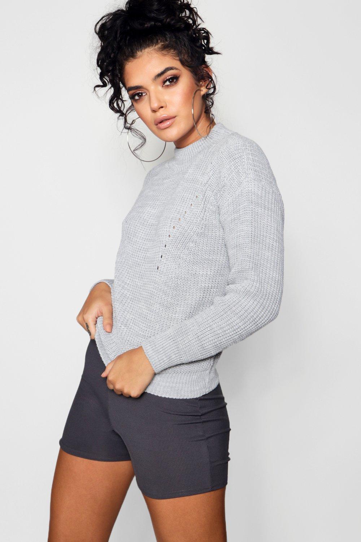 Womens Pullover mit lockerem Strick und Stehkragen - Silber - L, Silber - Boohoo.com