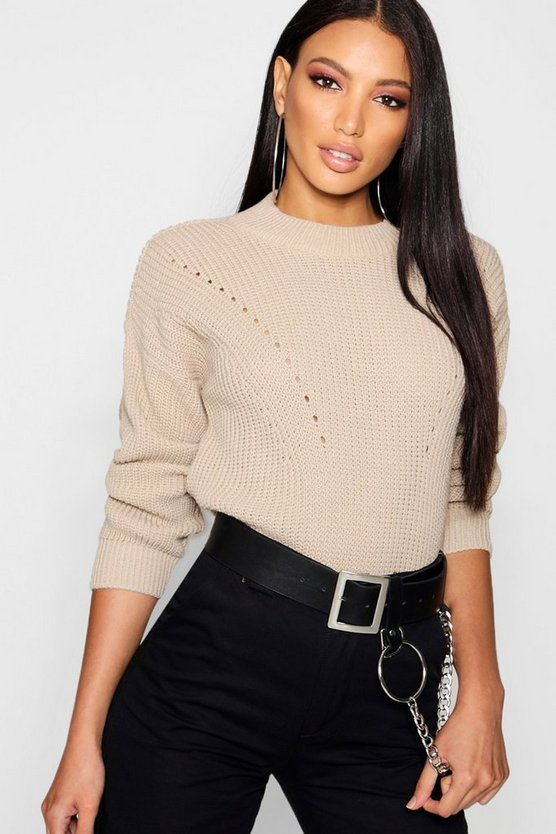 Linda Open Knit Turtle Neck Jumper