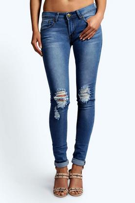 "Laura Longer Leg 34"""" Distressed Rip Knee Jeans"