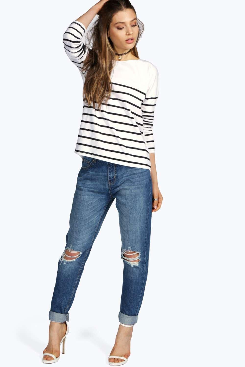 Mid Rise Relaxed Boyfriend Jeans mid blue