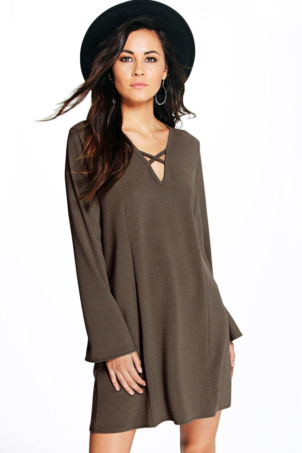 V Front Shift Dress olive