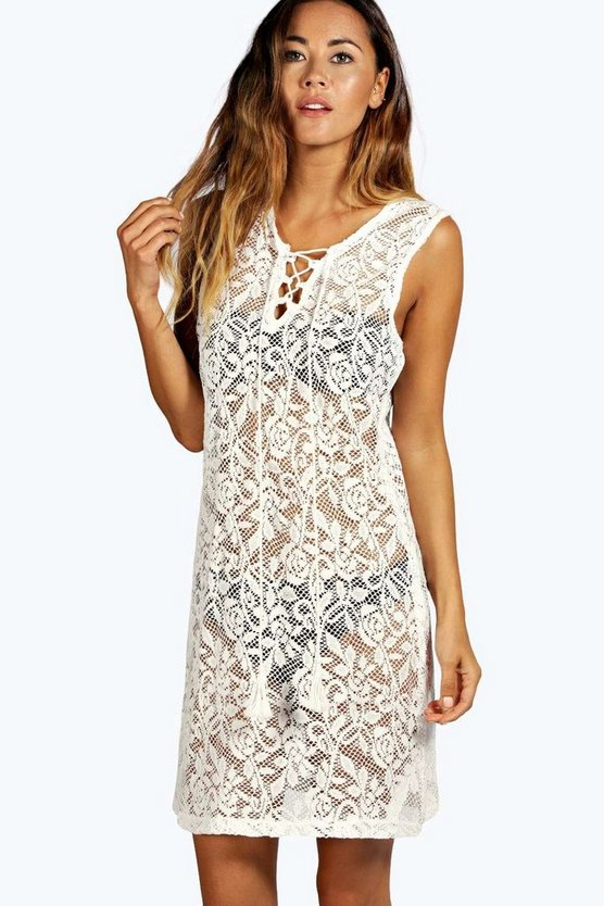 Molly Sleeveless Lace Up Beach Dress