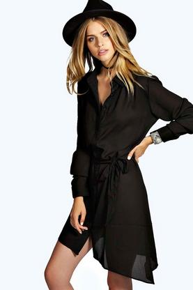 Sasha Collar Tie Shirt Dress