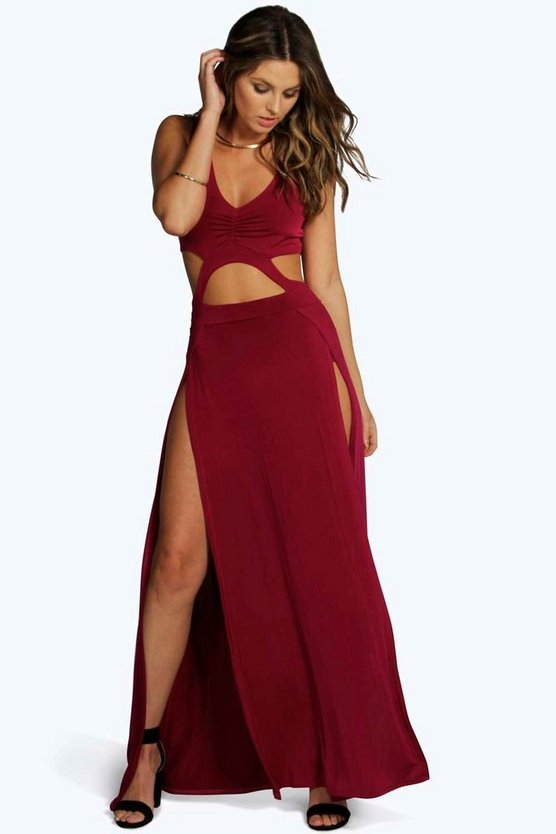 Kirsty-Ann Slinky Cutout Thigh Split Maxi Dress