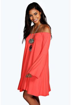 Sindy Off ShoulderAngel Sleeve Swing Dress