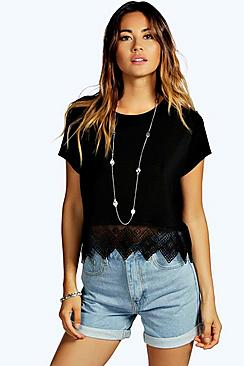 Rita Crochet Hem Trim Crop Top
