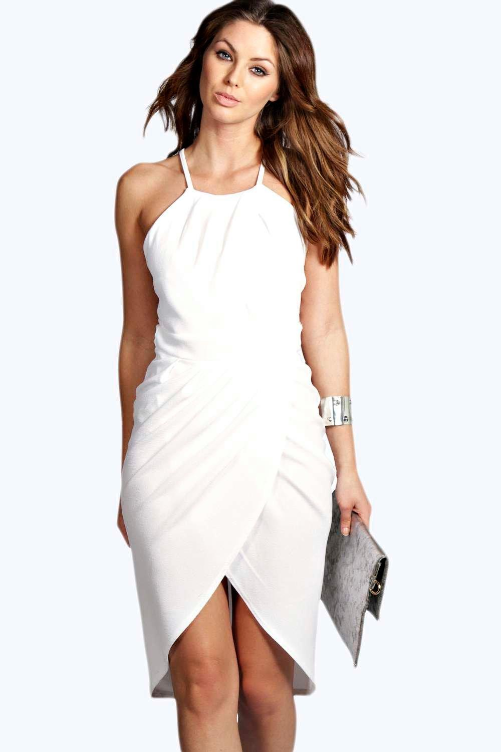 Mai Crepe Wrap Over Skirt Midi Dress