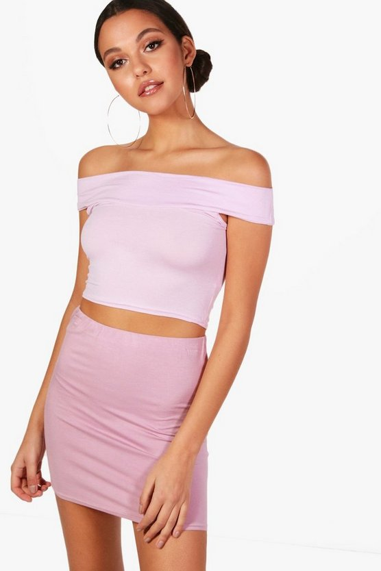 Lilly Basic Off The Shoulder Crop Top